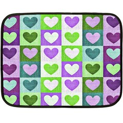 Hearts Plaid Purple Fleece Blanket (Mini)