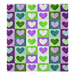 Hearts Plaid Purple Shower Curtain 66  x 72  (Large)