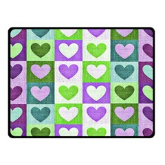 Hearts Plaid Purple Fleece Blanket (Small)