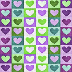Hearts Plaid Purple Magic Photo Cubes