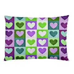 Hearts Plaid Purple Pillow Cases (two Sides)