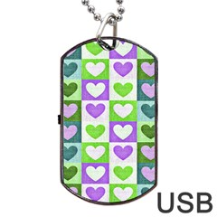 Hearts Plaid Purple Dog Tag USB Flash (One Side)