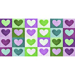 Hearts Plaid Purple YOU ARE INVITED 3D Greeting Card (8x4)