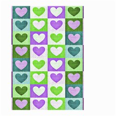 Hearts Plaid Purple Small Garden Flag (two Sides)
