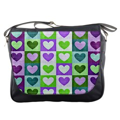 Hearts Plaid Purple Messenger Bags