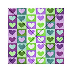 Hearts Plaid Purple Acrylic Tangram Puzzle (6  x 6 )