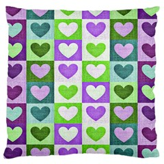 Hearts Plaid Purple Large Cushion Cases (Two Sides)