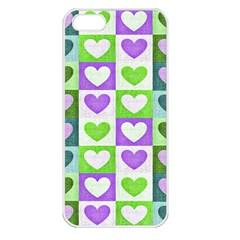 Hearts Plaid Purple Apple iPhone 5 Seamless Case (White)