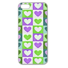 Hearts Plaid Purple Apple Seamless iPhone 5 Case (Clear)