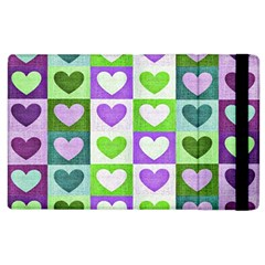 Hearts Plaid Purple Apple iPad 3/4 Flip Case
