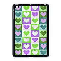 Hearts Plaid Purple Apple iPad Mini Case (Black)