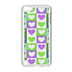 Hearts Plaid Purple Apple Ipod Touch 5 Case (white)
