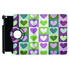 Hearts Plaid Purple Apple iPad 3/4 Flip 360 Case