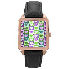 Hearts Plaid Purple Rose Gold Watches
