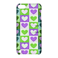 Hearts Plaid Purple Apple iPod Touch 5 Hardshell Case with Stand
