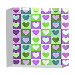Hearts Plaid Purple 5  x 5  Acrylic Photo Blocks