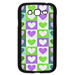 Hearts Plaid Purple Samsung Galaxy Grand DUOS I9082 Case (Black)