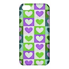 Hearts Plaid Purple Apple iPhone 5C Hardshell Case