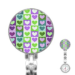 Hearts Plaid Purple Stainless Steel Nurses Watches
