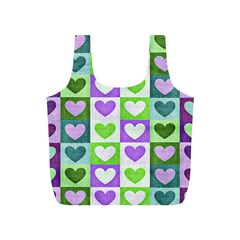 Hearts Plaid Purple Full Print Recycle Bags (S)