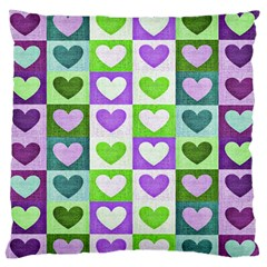 Hearts Plaid Purple Large Flano Cushion Cases (Two Sides)