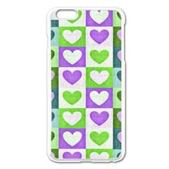 Hearts Plaid Purple Apple Iphone 6 Plus/6s Plus Enamel White Case