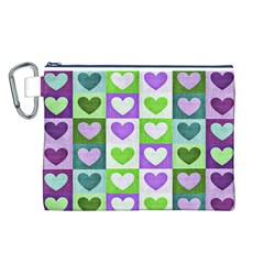 Hearts Plaid Purple Canvas Cosmetic Bag (L)