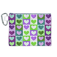 Hearts Plaid Purple Canvas Cosmetic Bag (XL)