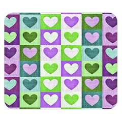 Hearts Plaid Purple Double Sided Flano Blanket (Small)