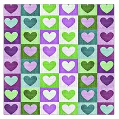 Hearts Plaid Purple Large Satin Scarf (square)