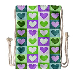 Hearts Plaid Purple Drawstring Bag (large)
