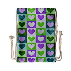 Hearts Plaid Purple Drawstring Bag (small)
