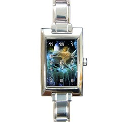Funny Dolphin In The Universe Rectangle Italian Charm Watches