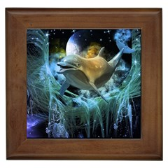 Funny Dolphin In The Universe Framed Tiles
