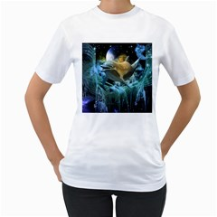 Funny Dolphin In The Universe Women s T Shirt (white) (two Sided)