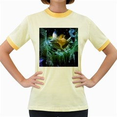 Funny Dolphin In The Universe Women s Fitted Ringer T Shirts