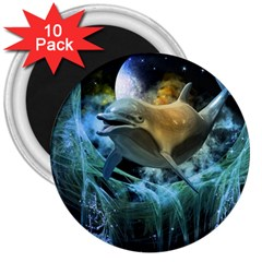 Funny Dolphin In The Universe 3  Magnets (10 Pack)