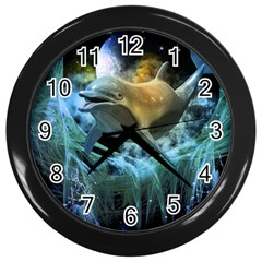 Funny Dolphin In The Universe Wall Clocks (black)