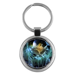 Funny Dolphin In The Universe Key Chains (round)