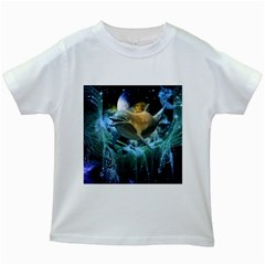 Funny Dolphin In The Universe Kids White T Shirts