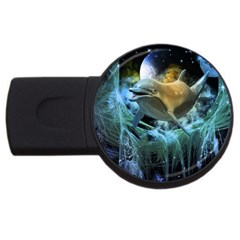 Funny Dolphin In The Universe USB Flash Drive Round (1 GB)