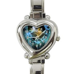 Funny Dolphin In The Universe Heart Italian Charm Watch