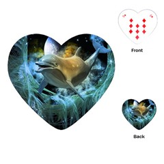 Funny Dolphin In The Universe Playing Cards (Heart)