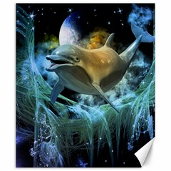 Funny Dolphin In The Universe Canvas 20  X 24