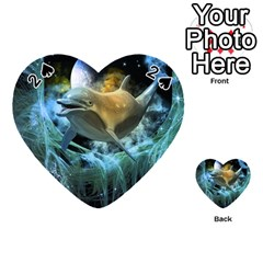Funny Dolphin In The Universe Playing Cards 54 (heart)