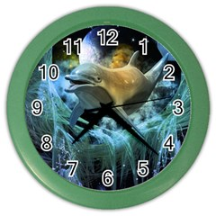 Funny Dolphin In The Universe Color Wall Clocks