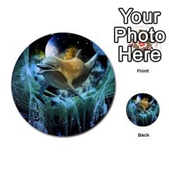 Funny Dolphin In The Universe Multi Purpose Cards (round)