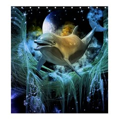 Funny Dolphin In The Universe Shower Curtain 66  x 72  (Large)