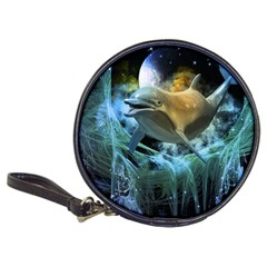 Funny Dolphin In The Universe Classic 20 Cd Wallets