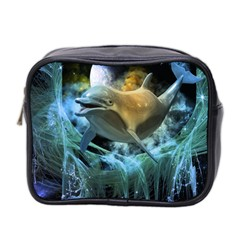Funny Dolphin In The Universe Mini Toiletries Bag 2-Side
